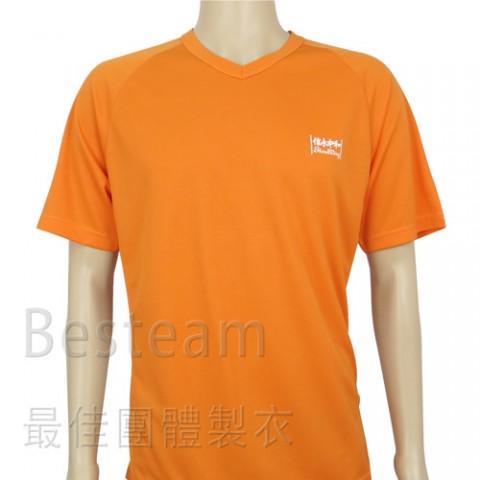 訂製款單色絲印V領快乾T恤正面