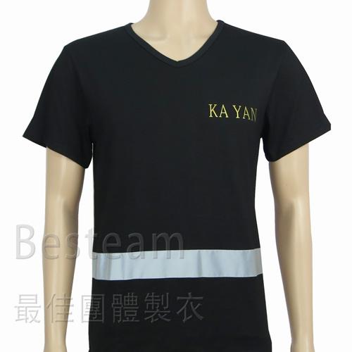 訂製款單色絲印 加反光條 T恤6512正面