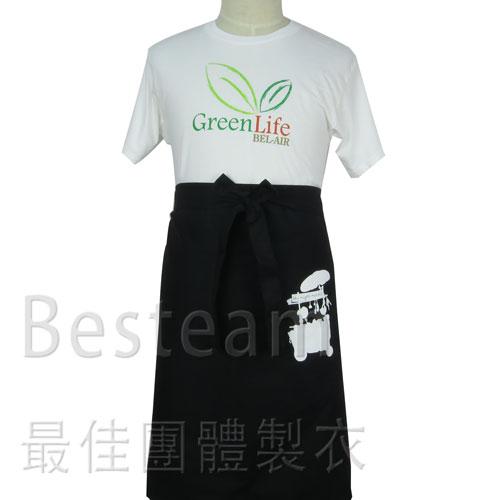 單色絲印 半身圍裙