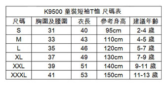 童裝 現貨K9500尺碼信息