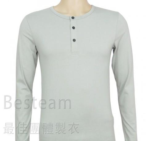 訂製款淨色長袖T恤正面